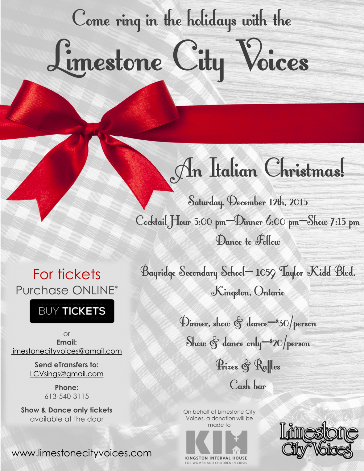 join the limestone city voices as they ring in the holiday season with a traditional italian dinner their award winning gangster show package the - Italian Christmas Music